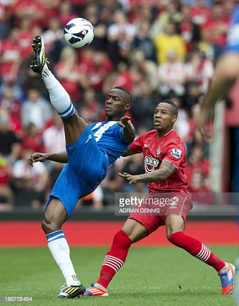Wigan's Honduran defender Maynor Figueroa vies with Southampton's English defender Nathaniel Cline during the English Premier League football match...