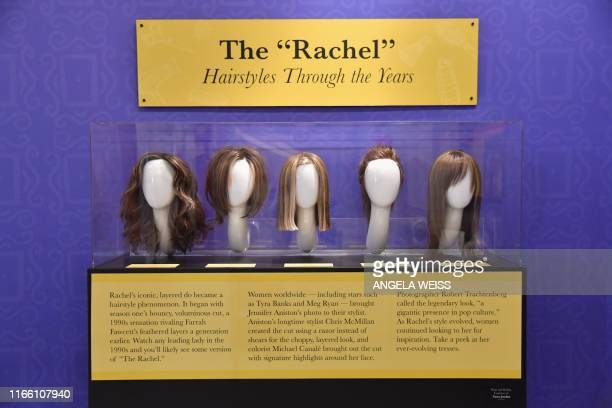 Wigs of character Rachel played by Jennifer Aniston are on display at the Friends 25th Anniversary New York City PopUp press preview on September 05...