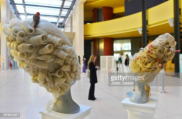 Wigs worn in the 2006 film Marie Antoniette, directed by Sofia Coppola are displayed during an exhibition at the Italian embassy in Washington, DC,...
