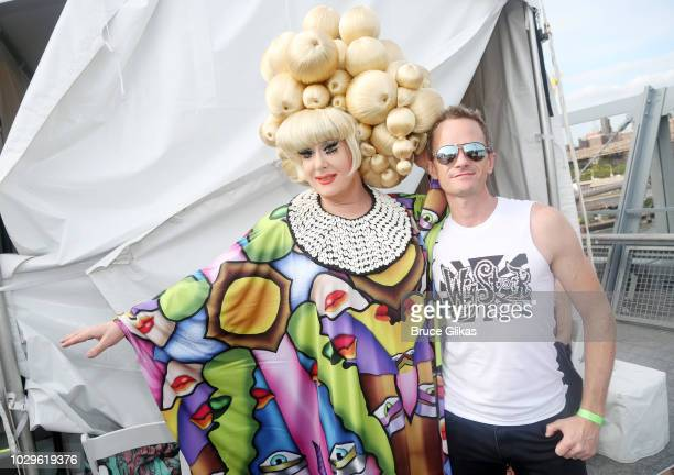 """Wigstock"""" Producer & Founder Lady Bunny and """"Wigstock"""" Producer Neil Patrick Harris pose backstage at """"Wigstock 2.HO"""" at The Pier 17 Rooftop on..."""