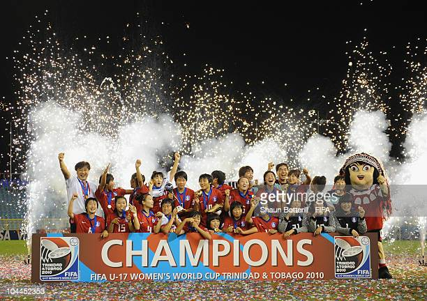Wiiners South Korea celebrate at the ceremony of the FIFA U17 Women's World Cup Final match between South Korea and Japan at the Hasely Crawford...