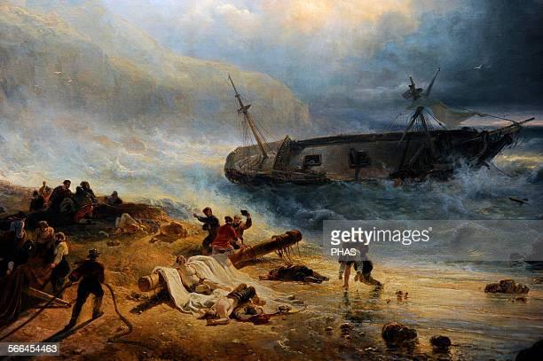 Wijnand Nuijen Dutch painter Shipwreck off a Rocky Coast c1837 Detail Rijksmuseum Amsterdam Holland