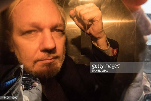 TOPSHOT WikiLeaks founder Julian Assange arrives at court in London on May 1 2019 to be sentenced for bail violation Assange will be sentenced today...