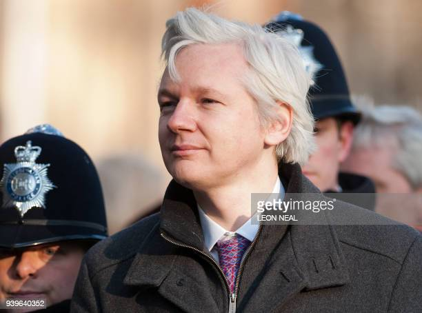 Wikileaks founder Julian Assange arrives at the Supreme Court in central London on February 1 in the latest stage of his lengthy battle against...