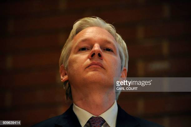 WikiLeaks founder Julian Assange attends a debate on the subject of whistleblowing with prominent public figures on secrecy and transparency issues...