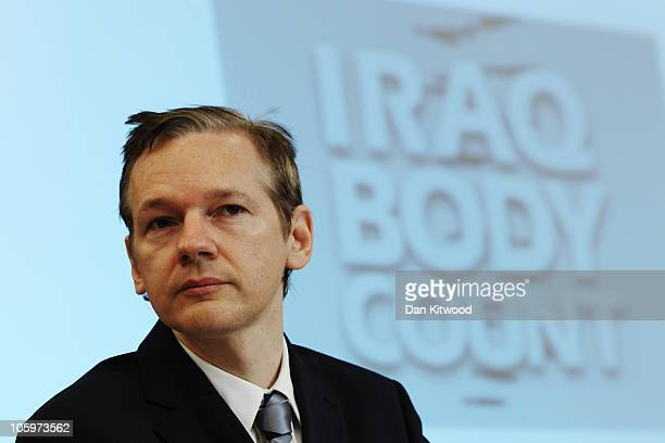 Wikileaks founder Julian Assange holds a press conference at Park Plaza Hotel on October 23 2010 in London England A series of new leaks of American...