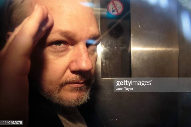 Wikileaks Founder Julian Assange leaves Southwark Crown Court in a security van after being sentenced on May 1 2019 in London England Wikileaks...