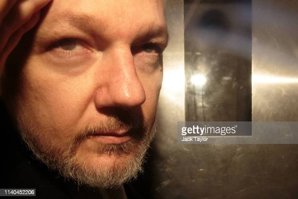 Wikileaks Founder Julian Assange leaves Southwark Crown Court in a security van after being sentenced on May 1, 2019 in London, England. Wikileaks...