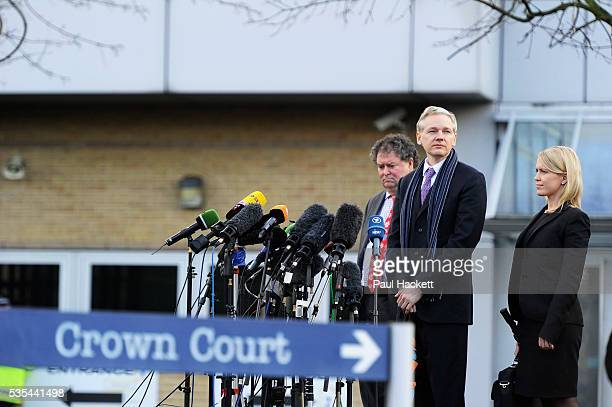 WikiLeaks founder Julian Assange speaks flanked by his lawyers Mark Stephens and Jennifer Robinson after his extradition hearing at Belmarsh...