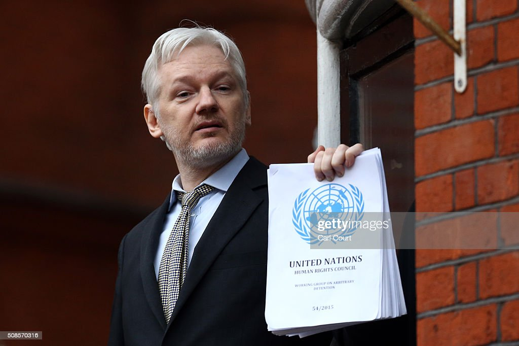 UN Panel Rules That Wikileaks Founder Is Arbitrarily Detained : News Photo