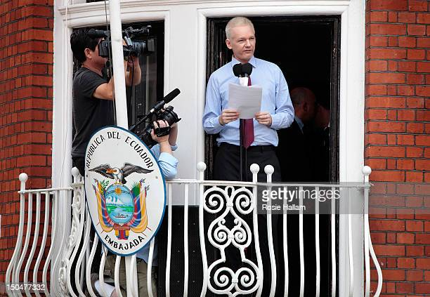 Wikileaks founder Julian Assange speaks from the balcony of the Equador embassy in Knightsbridge on August 19 2012 in London England During his...