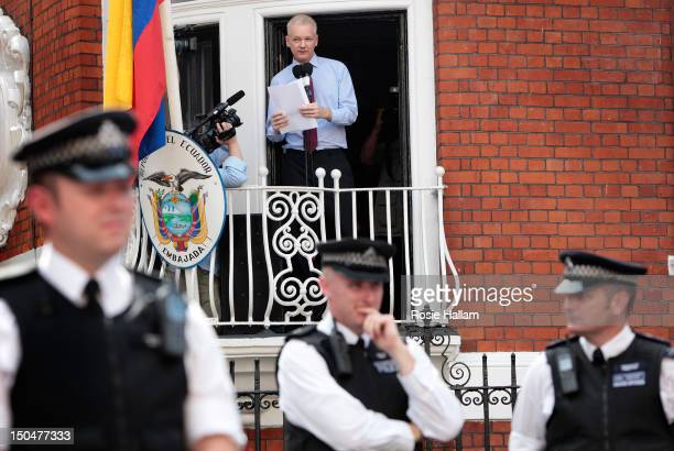 Wikileaks founder Julian Assange speaks from the balcony of the Equador embassy in Knightsbridge on August 19, 2012 in London, England. During his...