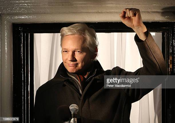 Wikileaks founder Julian Assange speaks from the Ecuadorian Embassy on December 20 2012 in London England Mr Assange has been living in the embassy...