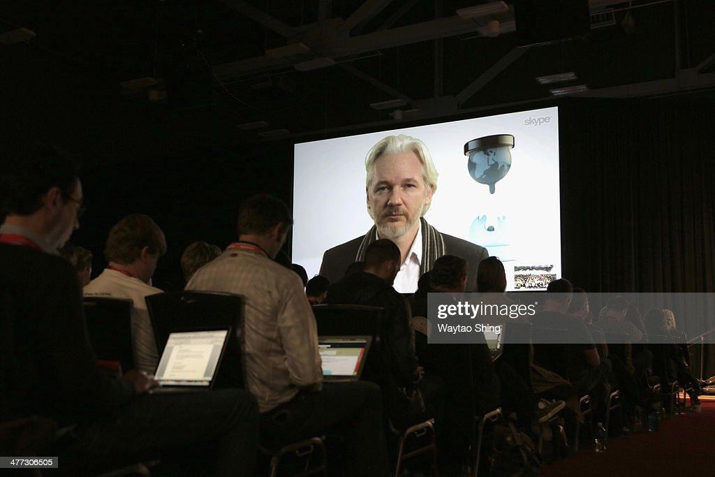 A Virtual Conversation With Julian Assange - 2014 SXSW Music, Film + Interactive Festival : News Photo