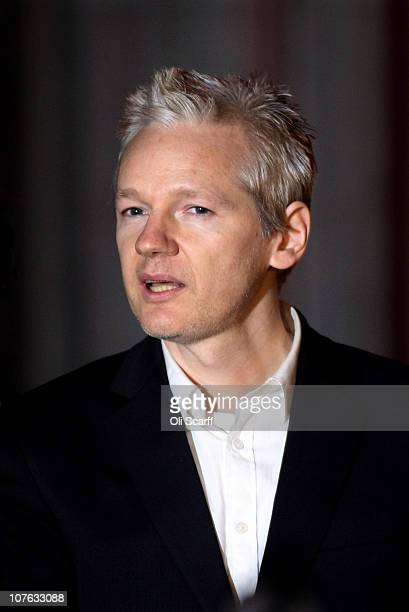 WikiLeaks founder Julian Assange speaks to reporters as he leaves The High Court on December 16 2010 in London England Julian Assange has been...