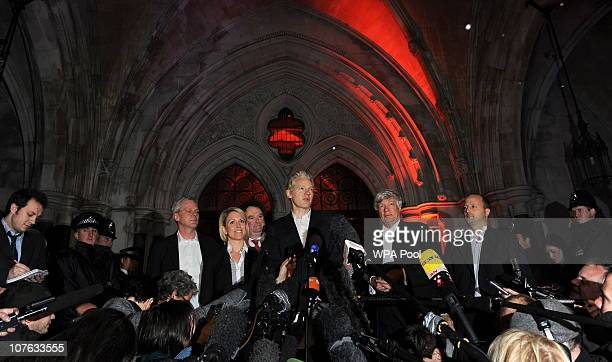 WikiLeaks founder Julian Assange speaks to reporters as he leaves The High Court on December 16 2010 in London England The founder of the WikiLeaks...