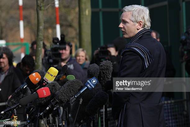 Wikileaks founder Julian Assange speaks to the press outside Belmarsh Magistrates' Court on February 24, 2011 in London, England. Mr Assange faces...