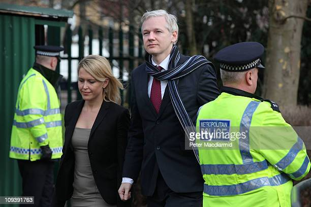 Wikileaks founder Julian Assange walks with his lawyer Jennifer Robinson as he arrives at Belmarsh Magistrates' Court on February 24 2011 in London...