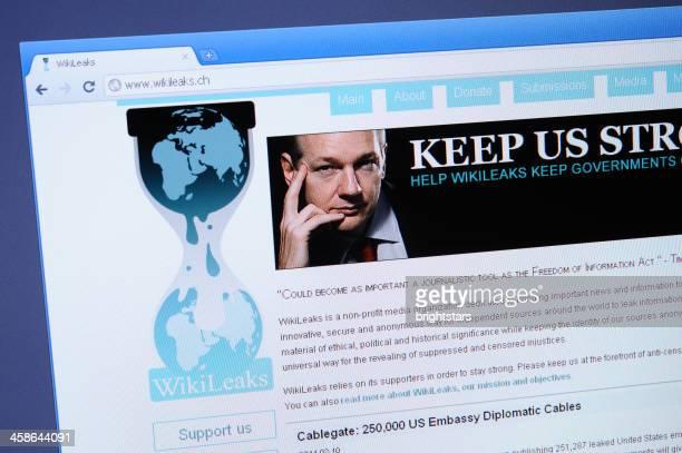 WikiLeaks webpage on the browser
