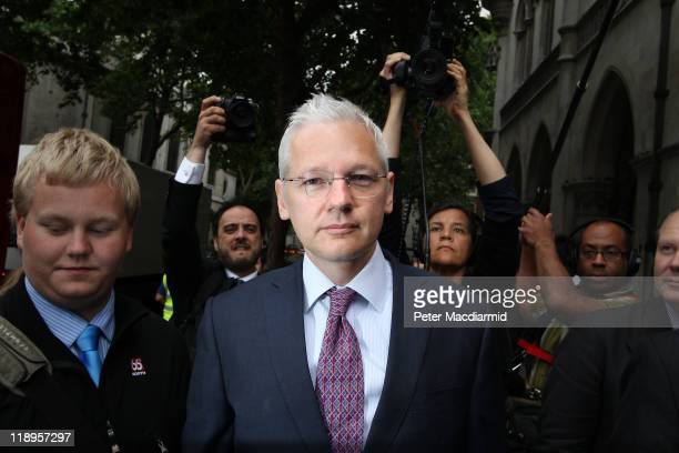 WikiLeaks website founder Julian Assange arrives at The High Court on July 13 2011 in London England Mr Assange is appealing against his extradition...