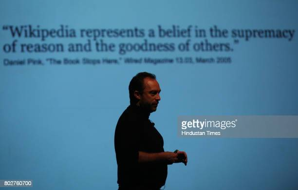 Wikipedia founder Jimmy Wales at QandA session and talk show in Mumbai on Sunday.