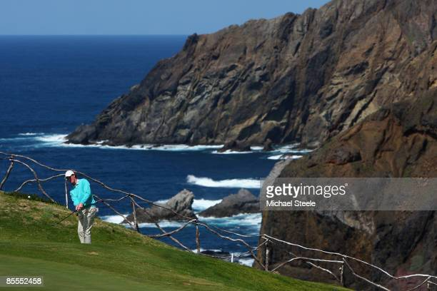 Wil Besseling of Holland plays his second shot onto the thirteenth green during round four of the Madeira Islands Open BPI at the Porto Santo Golfe...