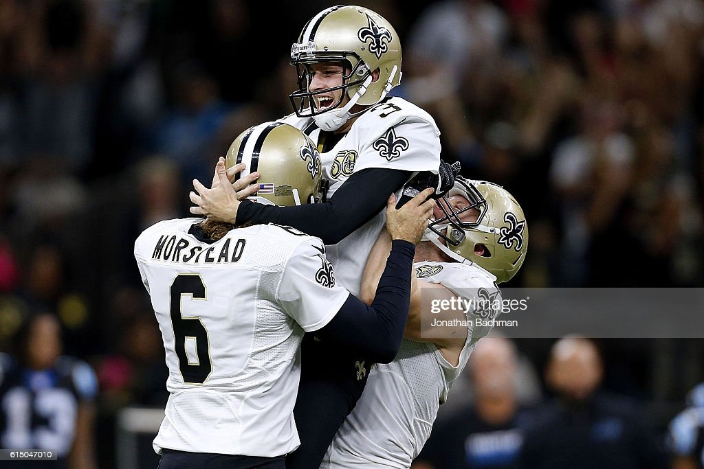 Wil Lutz #3 of the New Orleans Saints celebrates after kicking the game winning field goal during the second half of a game against the Carolina Panthers at the Mercedes-Benz Superdome on October 16, 2016 in New Orleans, Louisiana. The Saints won 41-38.