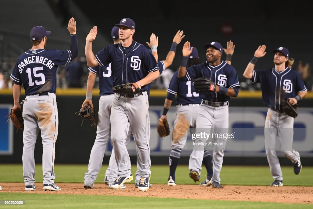 Wil Myers #4, Manuel Margot #7 and Travis Jankowski #16 of the San Diego Padres celebrate the win over the Arizona Diamondbacks with teammates at Chase Field on July 5, 2018 in Phoenix, Arizona. The San Diego Padres won 6-3.