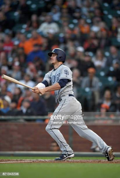 Wil Myers of the San Diego Padres bats against the San Francisco Giants in the top of the third inning at ATT Park on July 21 2017 in San Francisco...