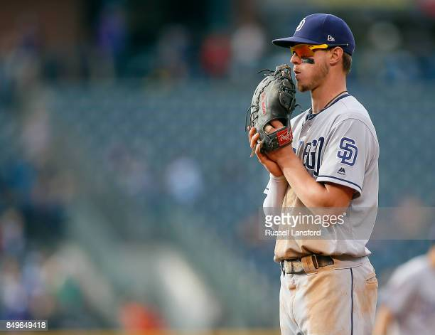 Wil Myers of the San Diego Padres during a regular season MLB game between the Colorado Rockies and the visiting San Diego Padres at Coors Field on...