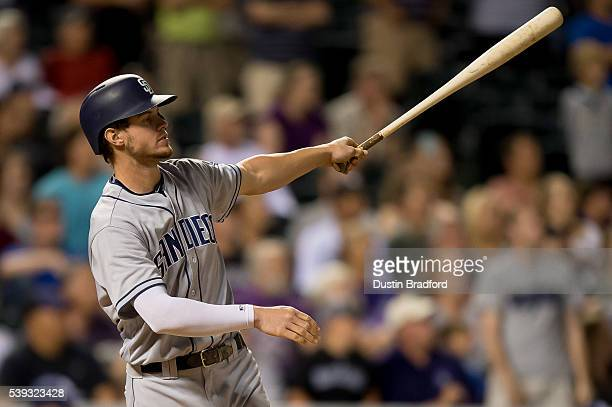 Wil Myers of the San Diego Padres hits a ninth inning 3run go ahead homerun against the Colorado Rockies during a game at Coors Field on June 10 2016...