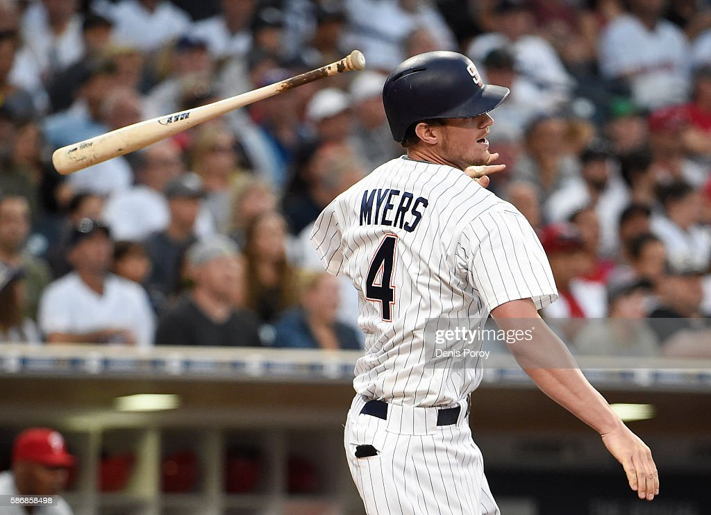 Wil Myers #4 of the San Diego Padres hits an RBI double during the fifth inning of a baseball game against the Philadelphia Phillies at PETCO Park on August 6, 2016 in San Diego, California.