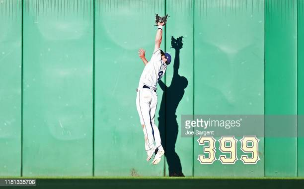 Wil Myers of the San Diego Padres makes a catch on a ball hit by Melky Cabrera of the Pittsburgh Pirates during the third inning at PNC Park on June...