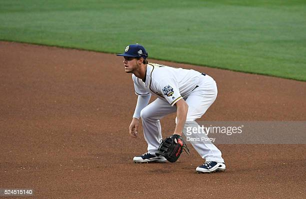 Wil Myers of the San Diego Padres plays during a baseball game against the St Louis Cardinals at PETCO Park on April 23 2016 in San Diego California