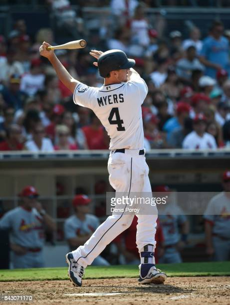 Wil Myers of the San Diego Padres plays during a baseball game against the St Louis Cardinals at PETCO Park on September 4 2017 in San Diego...