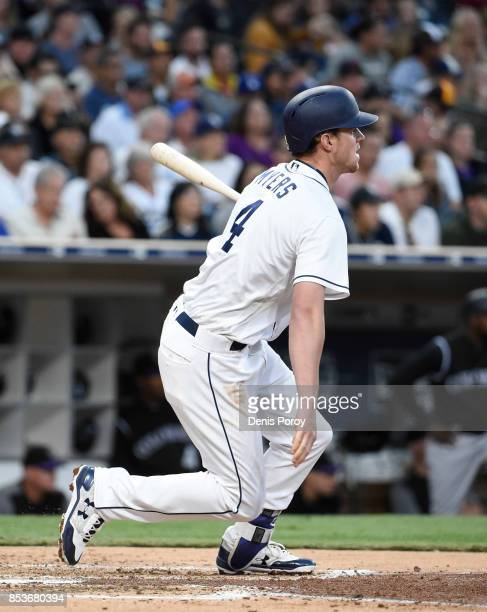 Wil Myers of the San Diego Padres plays during a baseball game against the Colorado Rockies at PETCO Park on September 23 2017 in San Diego California