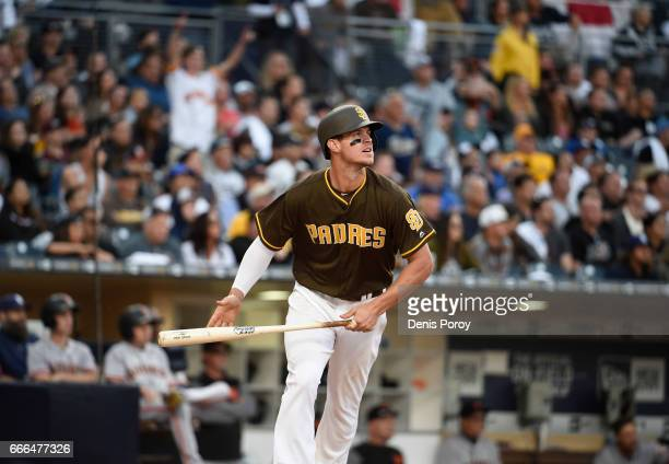 Wil Myers of the San Diego Padres plays during the opening day baseball game against the San Francisco Giants at PETCO Park on April 7 2017 in San...