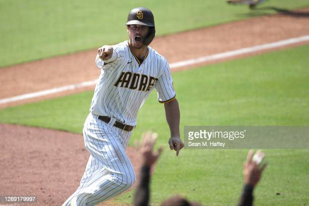 Wil Myers of the San Diego Padres reacts after his walkoff three-run homerun during the seventh inning of a double header to defeat the Seattle...