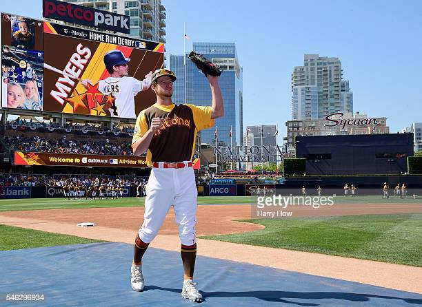 Wil Myers of the San Diego Padres warms up during Gatorade AllStar Workout Day for the 87th Annual MLB AllStar game at PETCO Park on July 11 2016 in...