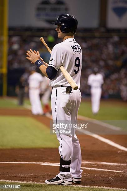 Wil Myers of the Tampa Bay Rays looks down to the third base coach during Game 3 of the American League Division Series against the Boston Red Sox at...