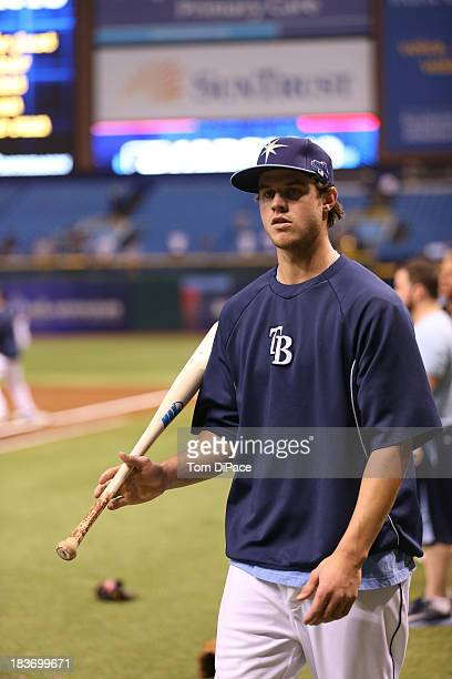 Wil Myers of the Tampa Bay Rays looks on during batting practice before Game 4 of the American League Division Series against the Boston Red Sox on...