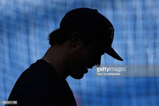 Wil Myers of the Tampa Bay Rays warms up during batting practice before the start of MLB game action against the Toronto Blue Jays on May 26 2014 at...
