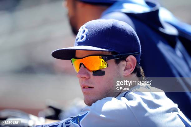 Wil Myers of the Tampa Bay Rays watches the game against the Baltimore Orioles at Oriole Park at Camden Yards on April 16 2014 in Baltimore Maryland...
