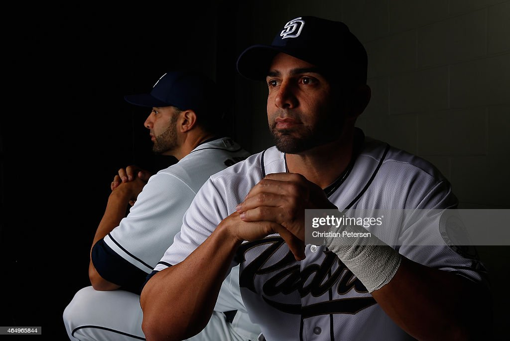 Wil Nieves #43 of the San Diego Padres poses for a portrait during spring training photo day at Peoria Stadium on March 2, 2015 in Peoria, Arizona.