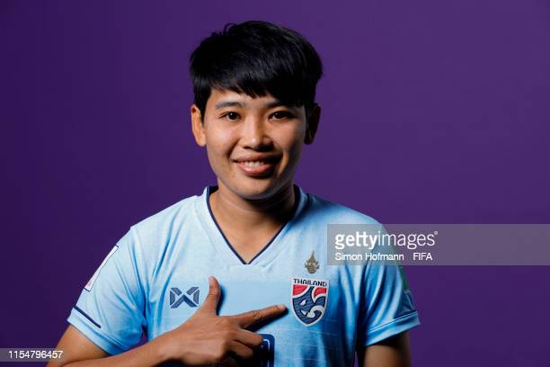 Wilaiporn Boothduang of Thailand poses for a portrait during the official FIFA Women's World Cup 2019 portrait session at Grand Hotel Continental on...