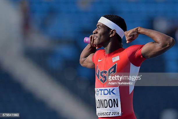 Wilbert London from USA celebrates victory in men's 4x400 meters relay final during the IAAF World U20 Championships at the Zawisza Stadium on July...
