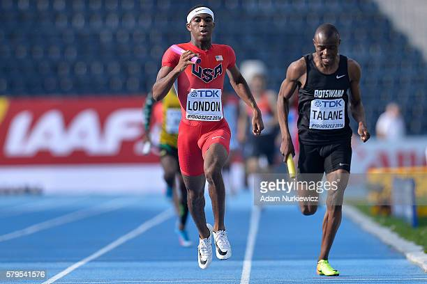 Wilbert London from USA competes in men's 4x400 meters relay final during the IAAF World U20 Championships at the Zawisza Stadium on July 24 2016 in...