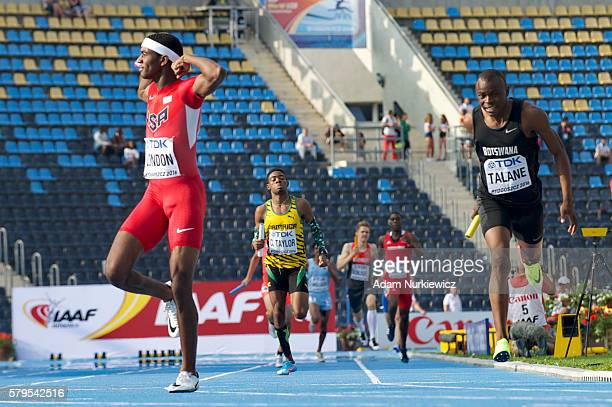 Wilbert London of USA competes in men's 4 x 400 metres relay during the IAAF World U20 Championships at the Zawisza Stadium on July 24 2016 in...