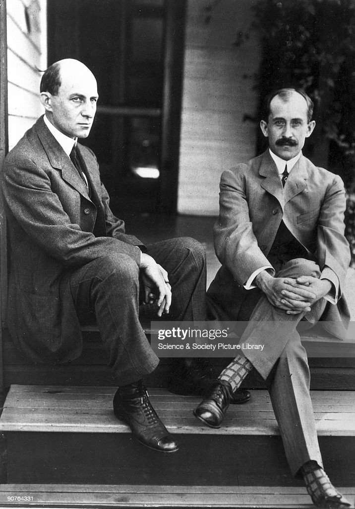 Wilbur (left) and Orville Wright, American aviation pioneers, c 1910. : News Photo