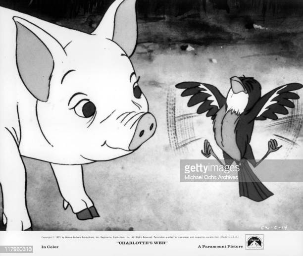 Wilbur pig Henry Gibson with bird in a scene from the film 'Charlotte's Web' 1972